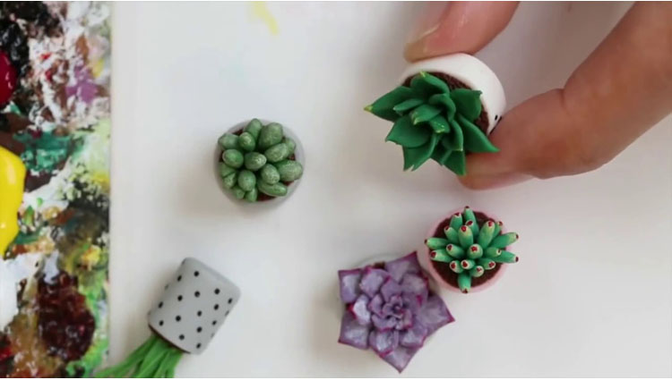 Miniature Succulents Plants Polymer Clay and Acrylics Tutorial