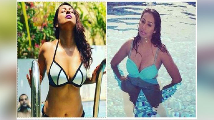 kashmira shah enjoying summer in a pool