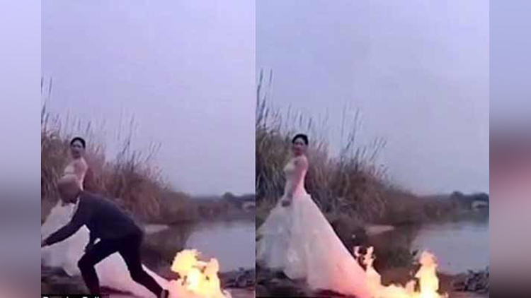 Bride let photographer set fire on her gown only to take a wedding photo