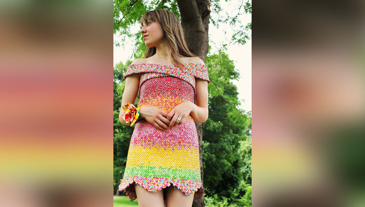 Woman makes dress out of more than 10000 Starburst candy wrappers