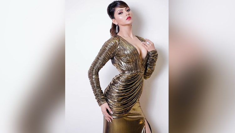 urvashi rautela hot in golden dress bold and sexy actress