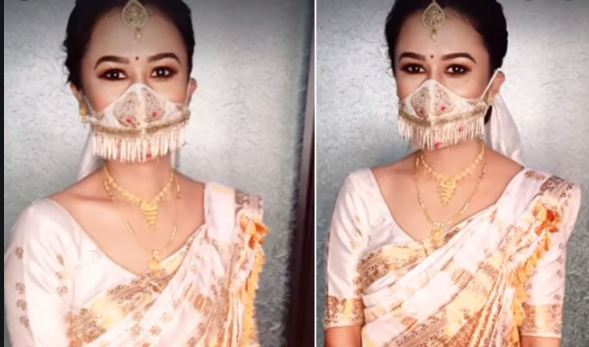 Assamese bride wears silk handloom mask for wedding