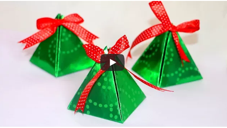 DIY Christmas Gift Box Easy Paper Pyramid Gift Box Paper Crafts Christmas Crafts
