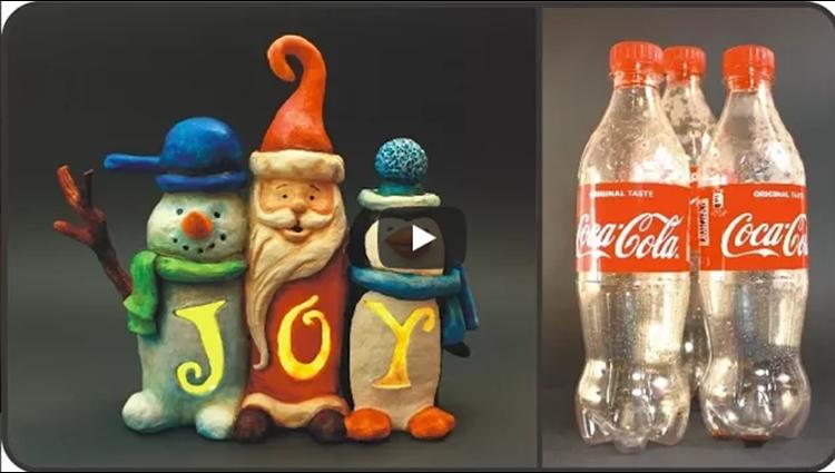 DIY Christmas JOY Sign Using Plastic Bottles