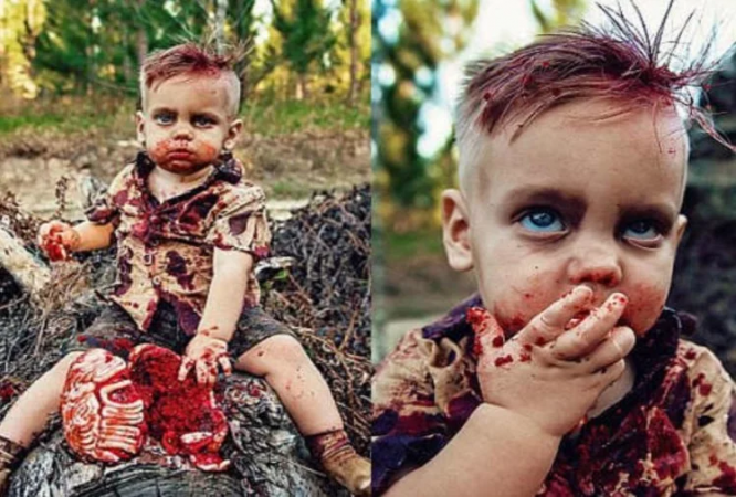 kid eating human being meat viral photos