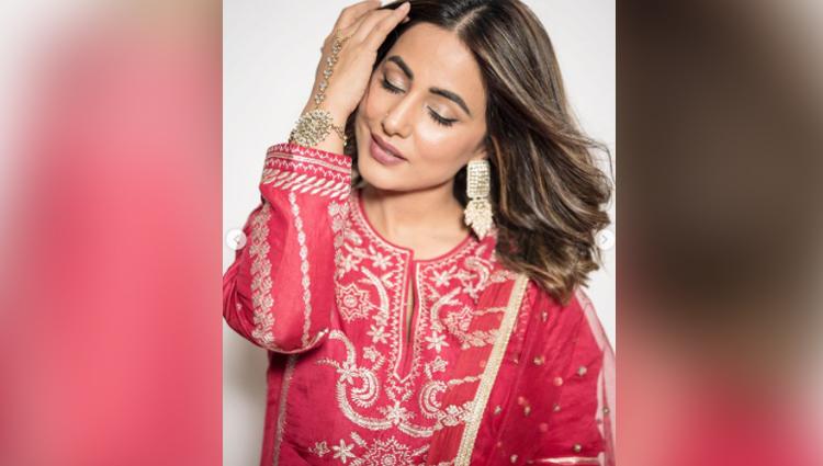 hina khan new photos hot in red salwar kameez