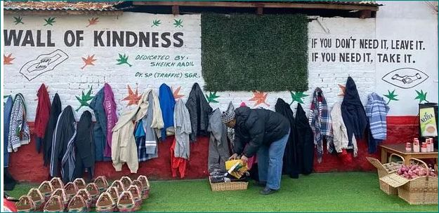 Kashmir police officer sets up wall of kindness for the needy