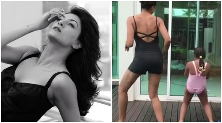 Sushmita sen dancing on ed sheeran shape of you Instagram video