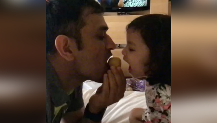 ms dhoni and daughter ziva attack on besan ka laddoo