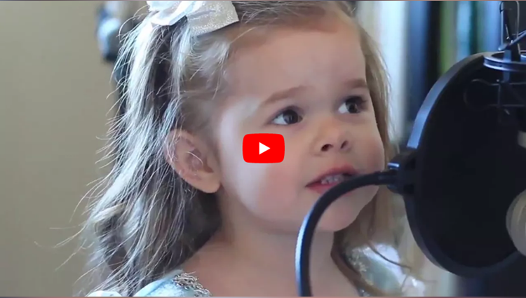 little girl sing a beautiful song
