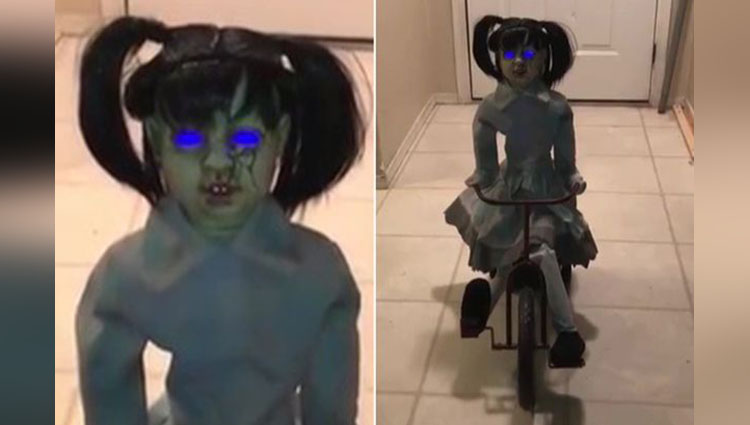 most terrifying doll ever Petrifying toy on a trike goes on sale for Halloween