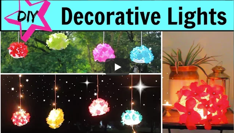 DIY Diwali Lights Decoration Ideas using Paper and Yarn