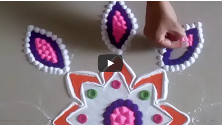 Beautiful and Easy Rangoli Designs Using Cookies Heart Shape Diwali Rangoli by Shital Mahajan
