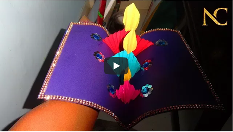 Diy 3D DIYA Pop up Card Diwali Greeting card Nalicraft
