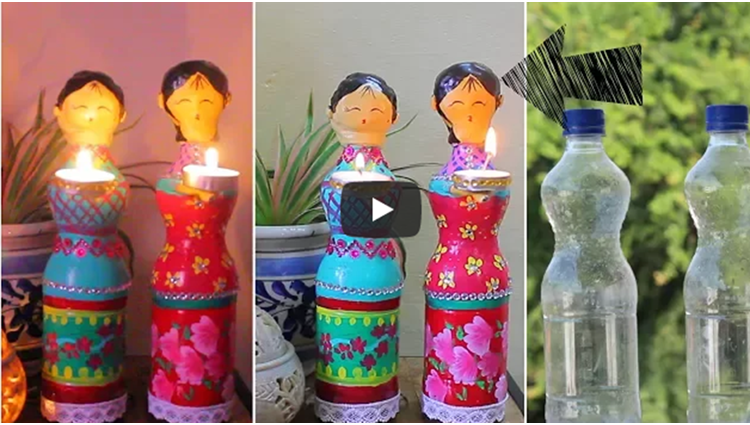 Dolls diya using Plastic Bottles for Diwali Decorations DIY Home Decor