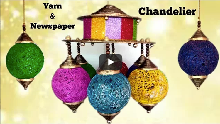How to make Chandelier from Newspaper and Yarn Diwali home decor
