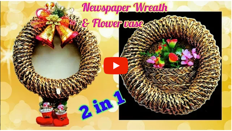 How to make wreath flower vase from Newspaper 2 in 1
