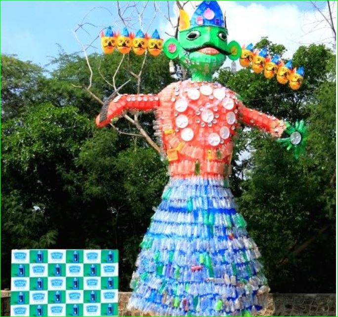 Mother Dairy builds 25 Feet Plastic Ravan dussehra