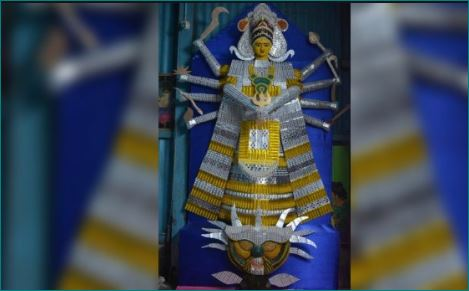 Assam artist creates 6-feet tall Durga idol with strips of expired tablets