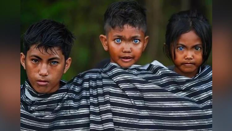 Indonesian tribe with extremely rare electric blue colour eyes
