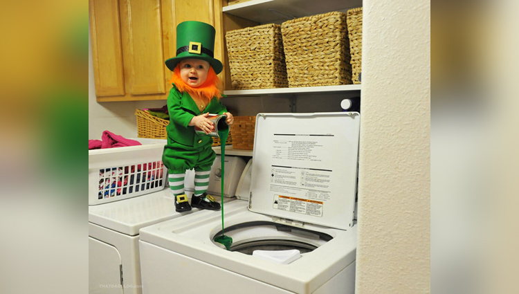 dad turns his 6-month old baby into a naughty leprechaun