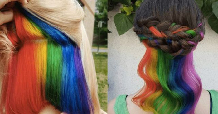 Wonderful rainbow hair colors hidden in hair