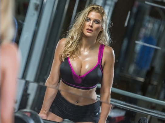 ashley james in gym with sexy clothes