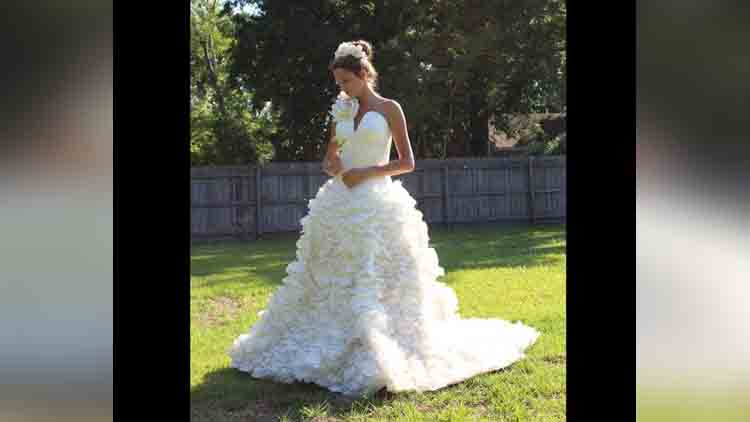 unbelievable wedding dress are made out of toilet paper