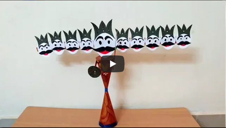 Making ravana for dussehra at home with paper Easy