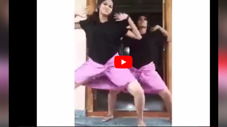 funny indian girls lungi dance