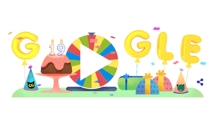 google's 19th birthday doodle
