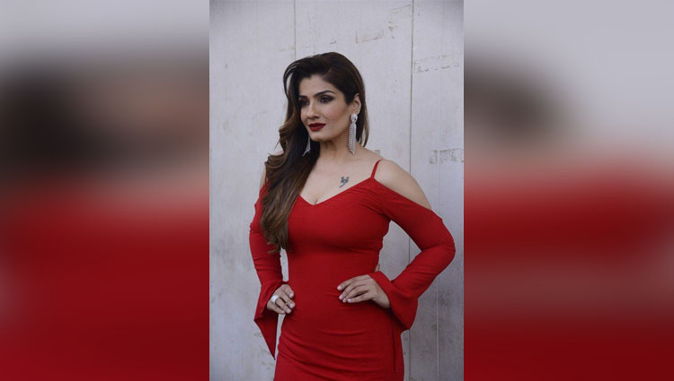 Raveena Tandon turns into Anil Kapoor and wins the hairy chest competition hands down See pic