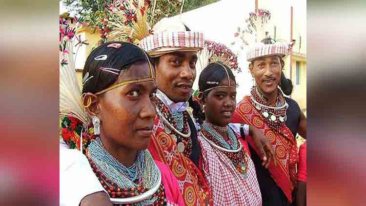 Bride and groom together in marriage ceremony Baiga tribe Chhattisgarh drinking wine