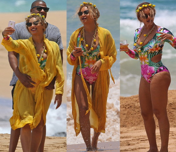 beyonce looking hot with husband on beach