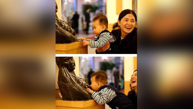 small kids funny pictures clicking with statues