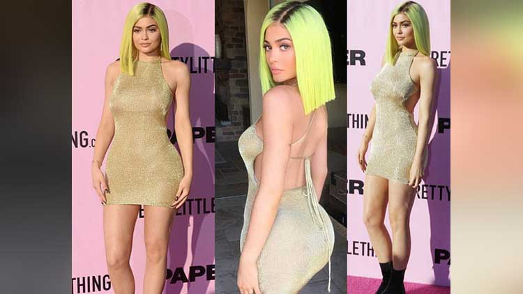 Kylie Jenner In Gold Mini Dress and new haircut