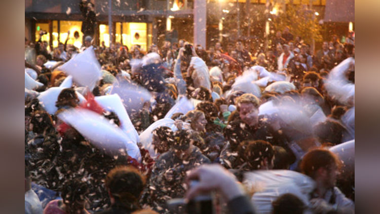Valentines Day Pillow Fight at San Francisco