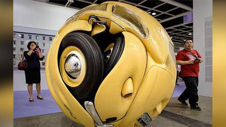 Скульптура спрасованный шар Volkswagen Beetle скачать