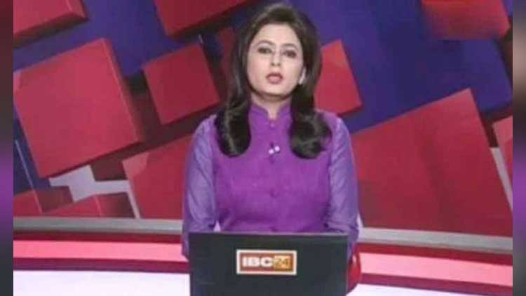 news Anchor reading news of her husband death