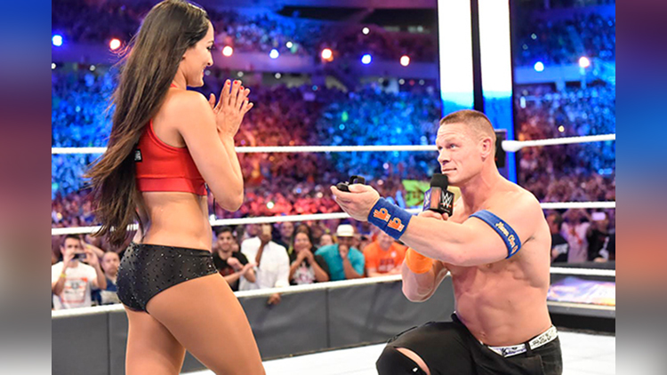 john cena propose GF nikki bella in wrestlemania