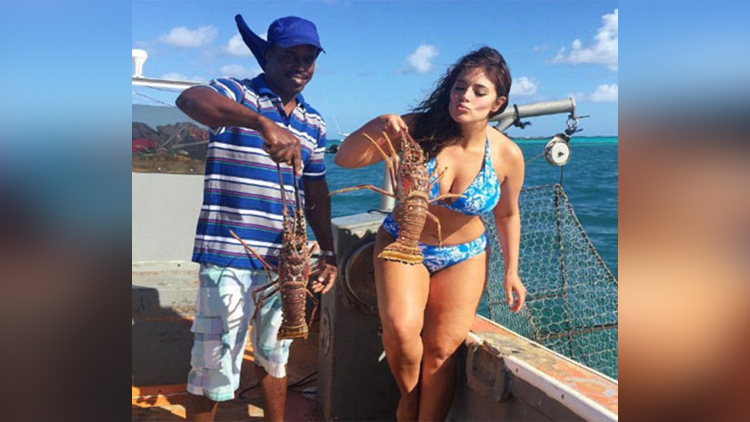 ashley graham swimwear campaign in caribbean sea