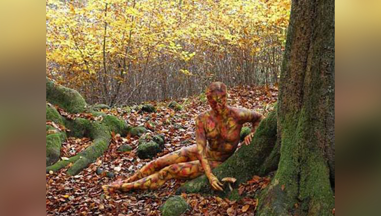 naked woman in a surreal forest