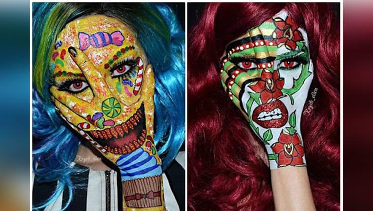 krysti ellen do body painting on her hand