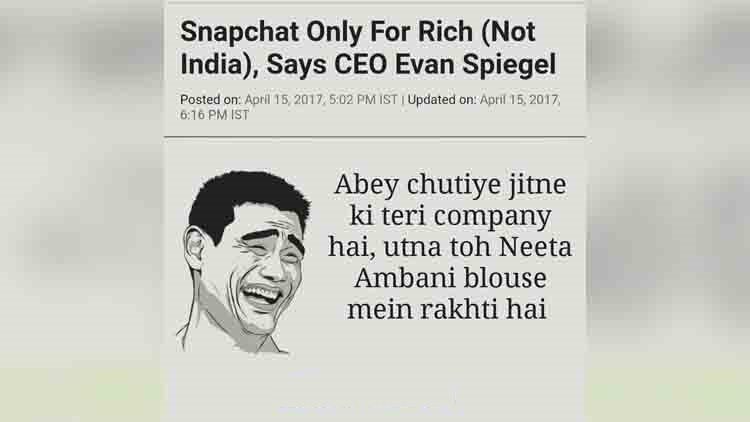 indias reply to snapchat ceo