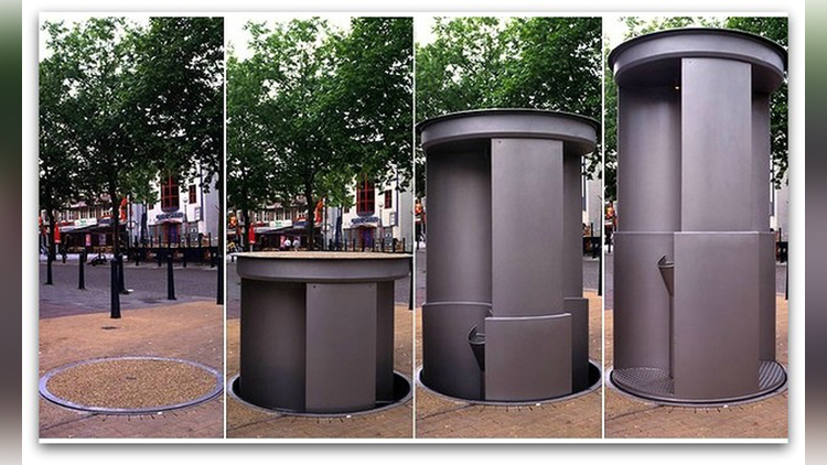 Watfords new pop up loo in operation video